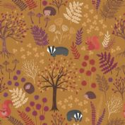 Lewis & Irene - Under The Oak Tree - 6892 - Trees Leaves & Animals on Gold - A393.2 - Cotton Fabric
